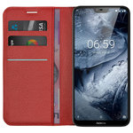 Leather Wallet Case & Card Slot Holder for Nokia 6.1 Plus - Red